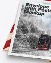 Textured Envelope w/ Postcard Mockup