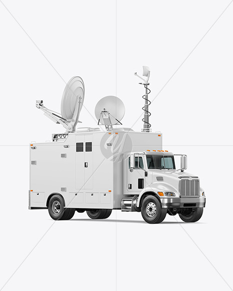 TV Truck Mockup - Half Side View - Yellowimages Mockups