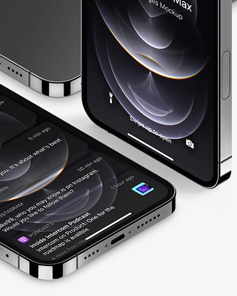 iPhones 12 Pro Max Graphite Mockup Scene