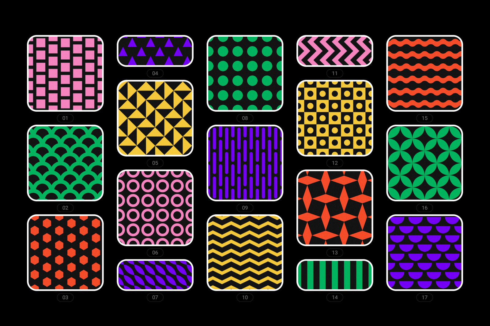 Bold geometric seamless patterns collection