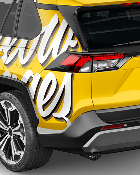 Compact Crossover SUV Mockup - Back Half Side View (High-Angle Shot)