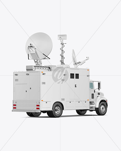 TV Truck Mockup - Back Half Side View - Yellowimages Mockups