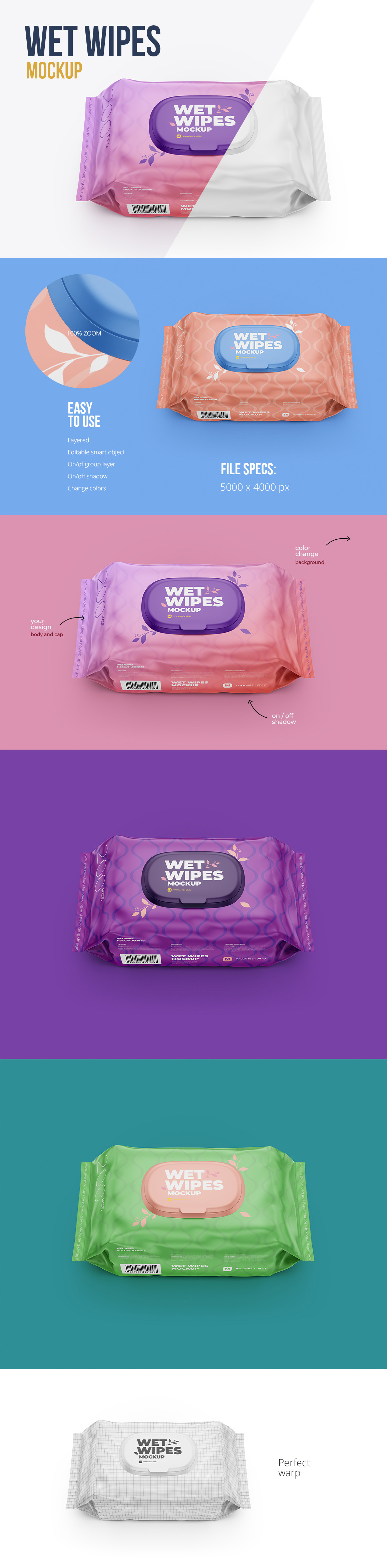 Wet Wipes Mockup, Large package