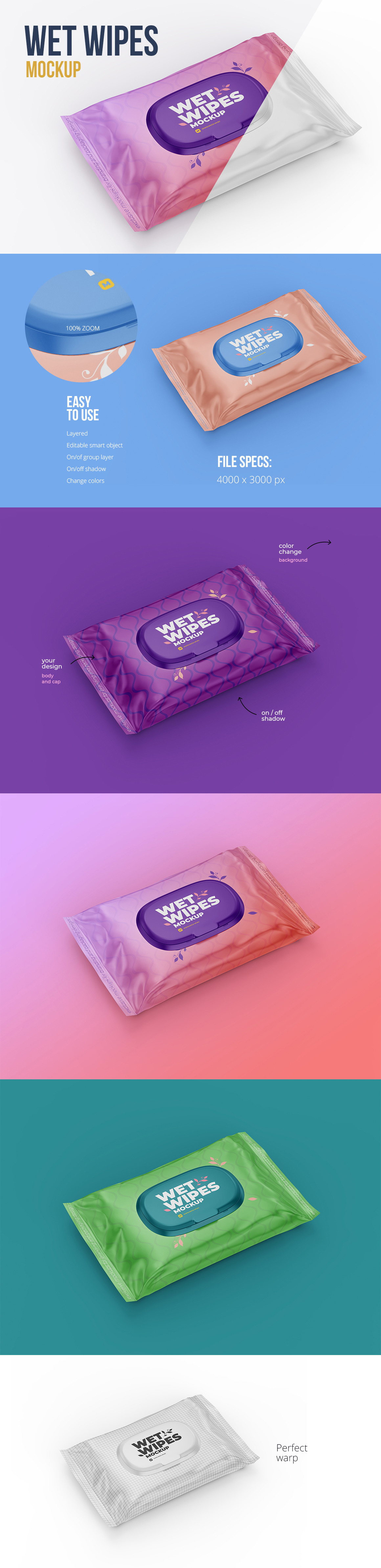 Wet Wipes with Cap Mockup - Angled view