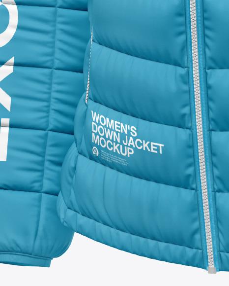 Matte Nylon Women's Down Jacket w/Hood Mockup