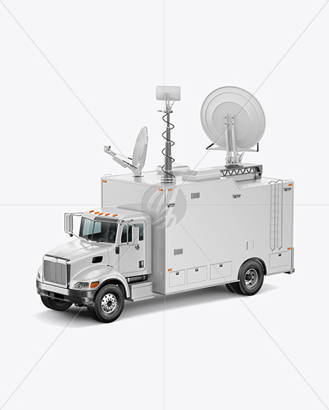 TV Truck Mockup - Half Side View (High-Angle Shot) - Yellowimages Mockups