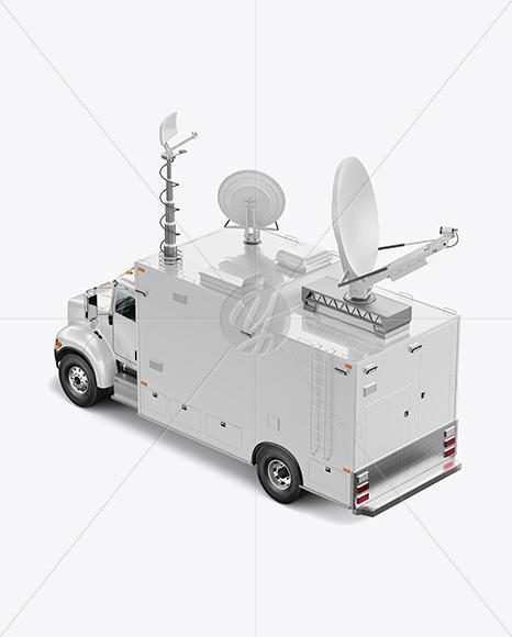 TV Truck Mockup - Back Half Side View (High-Angle Shot) - Yellowimages Mockups