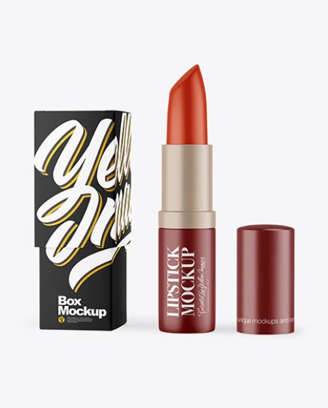 Matte Opened Lipstick With Box Mockup