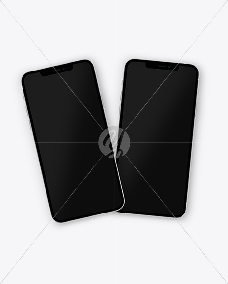 Two Apple iPhones 12 Pro Max Silver Mockup