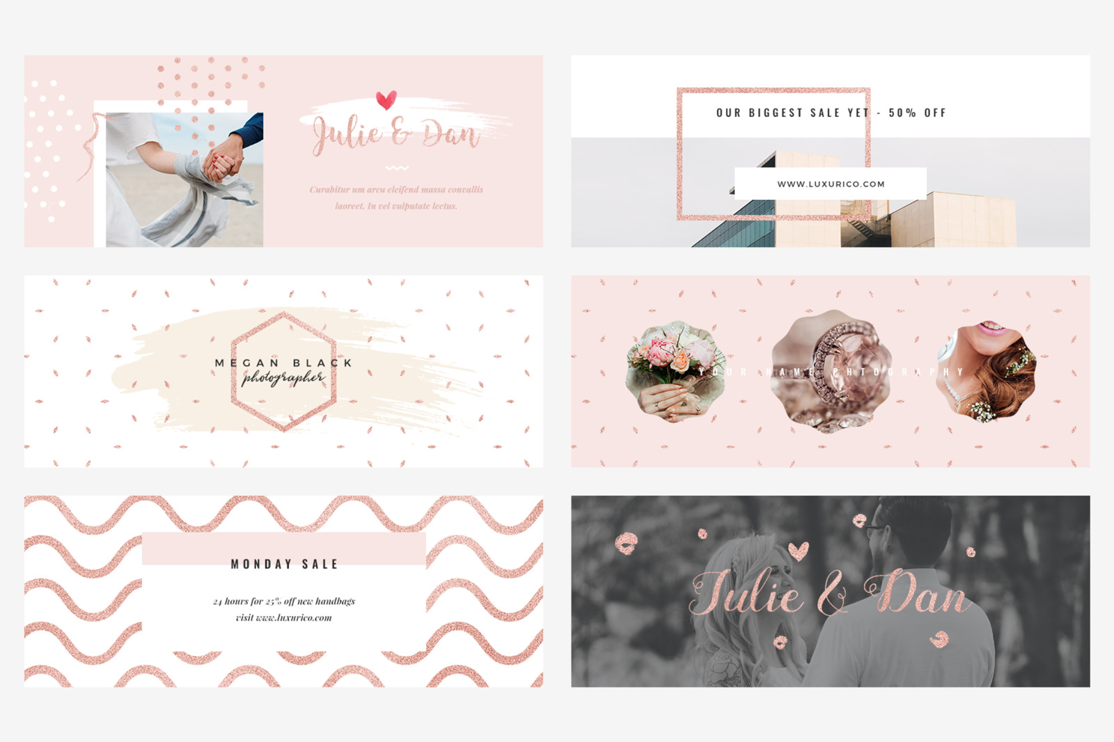 Rose Gold Facebook Cover Pack, Photography Facebook Cover