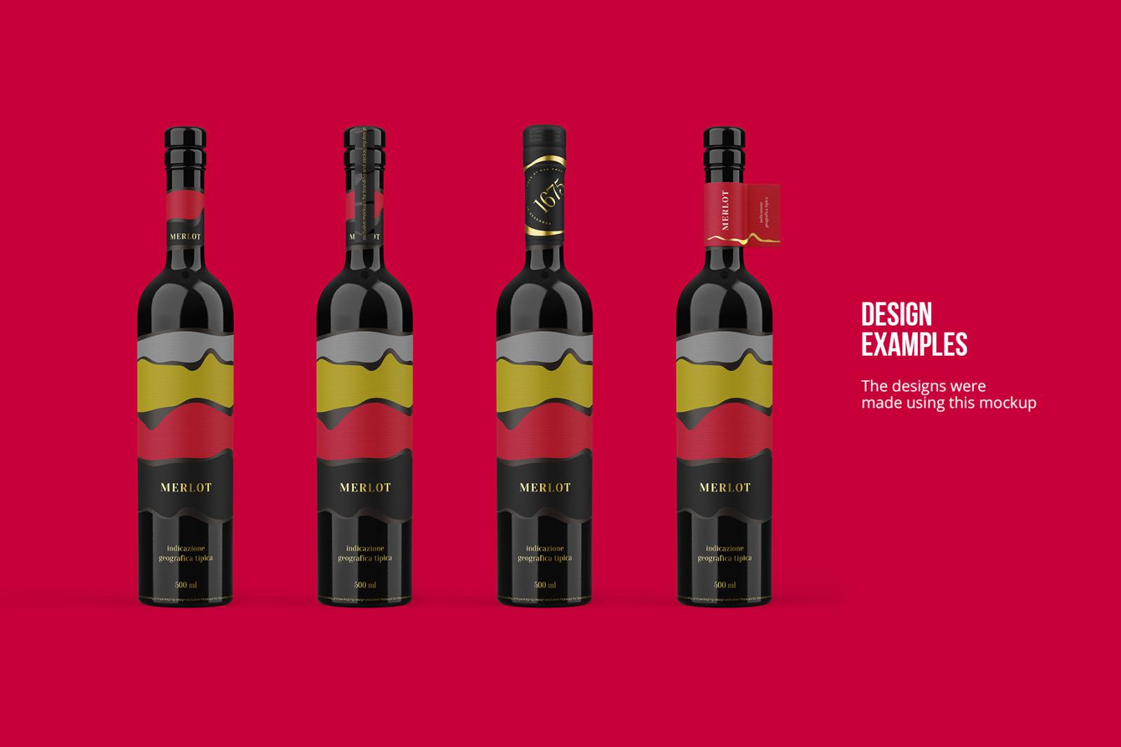 Ceramic Wine Bottle Mockup with Tube - PRO + 7 material