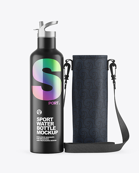 Matte Water Bottle W/ Case Mockup
