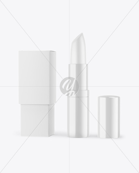 Glossy Opened Lipstick With Box Mockup