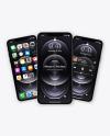 Three Apple iPhones 12 Pro Max Graphite Mockup