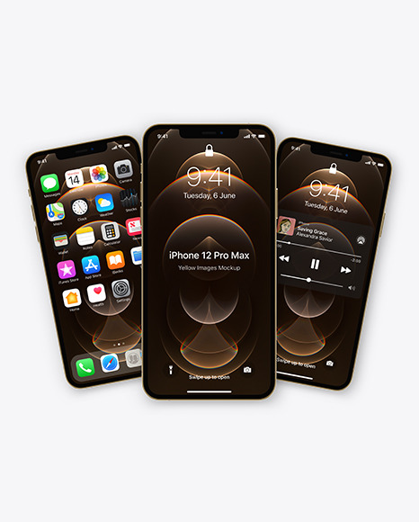 Three Apple iPhones 12 Pro Max Gold Mockup
