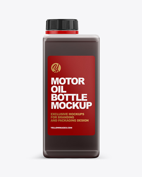 Rectangular Semitransparent Bottle with Oil Mockup