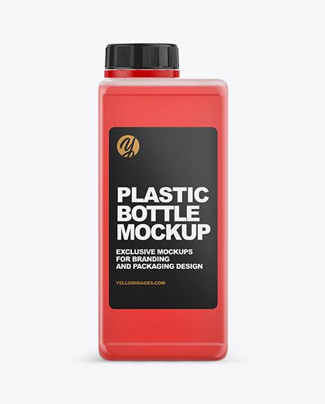 Rectangular Semitransparent Bottle Mockup