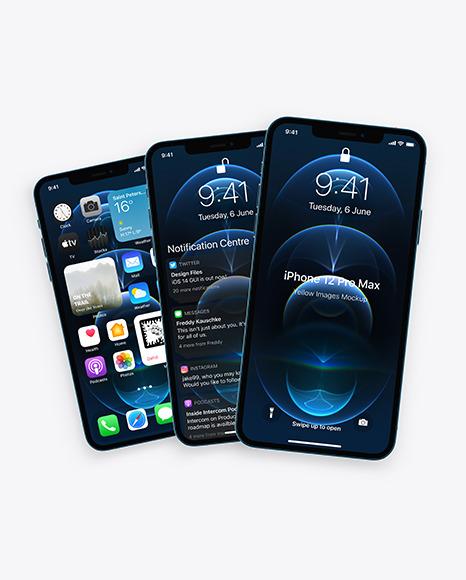 Three Apple iPhones 12 Pro Max Pacific Blue Mockup