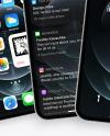 Three Apple iPhones 12 Pro Max Silver Mockup