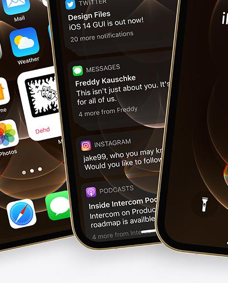 Three Apple iPhones 12 Pro Max Gold Mockup