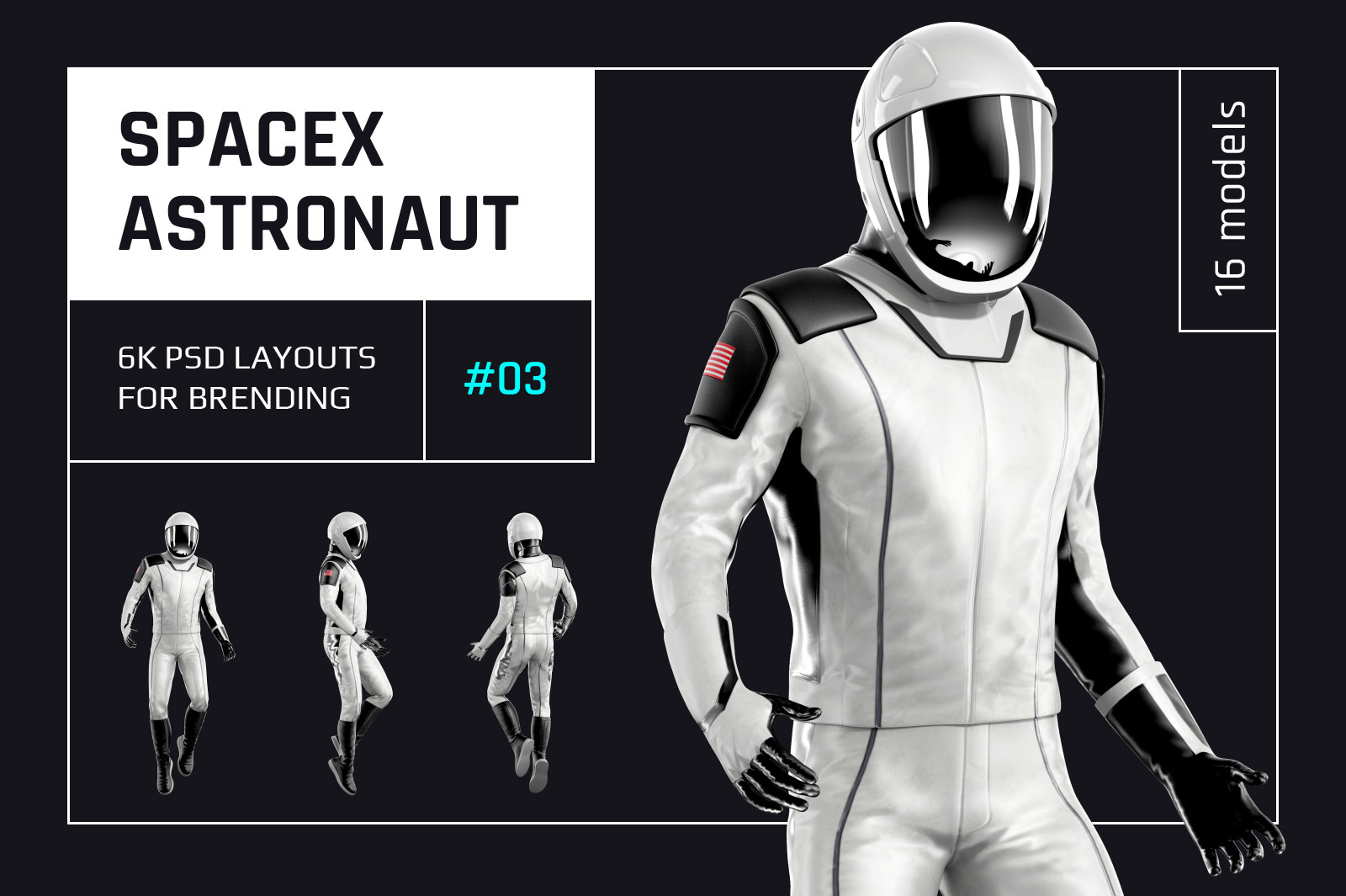 PSD Mockup 3D model SpaceX Astronaut #03