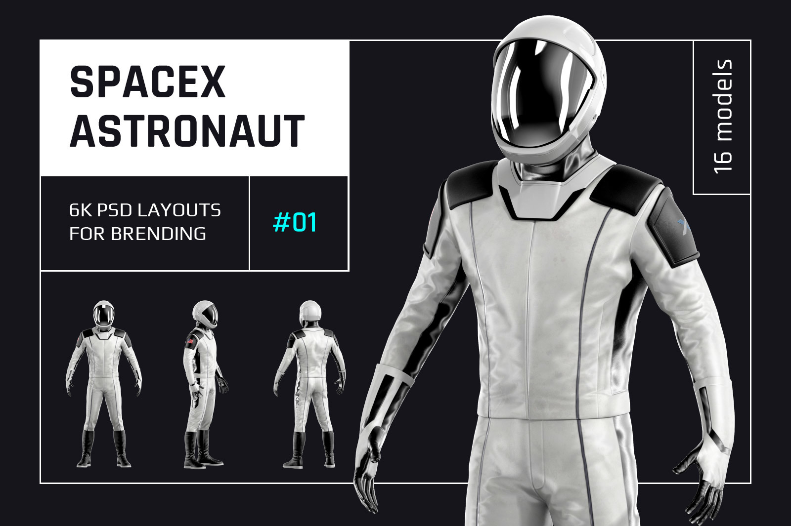 PSD Mockup 3D model SpaceX Astronaut #01