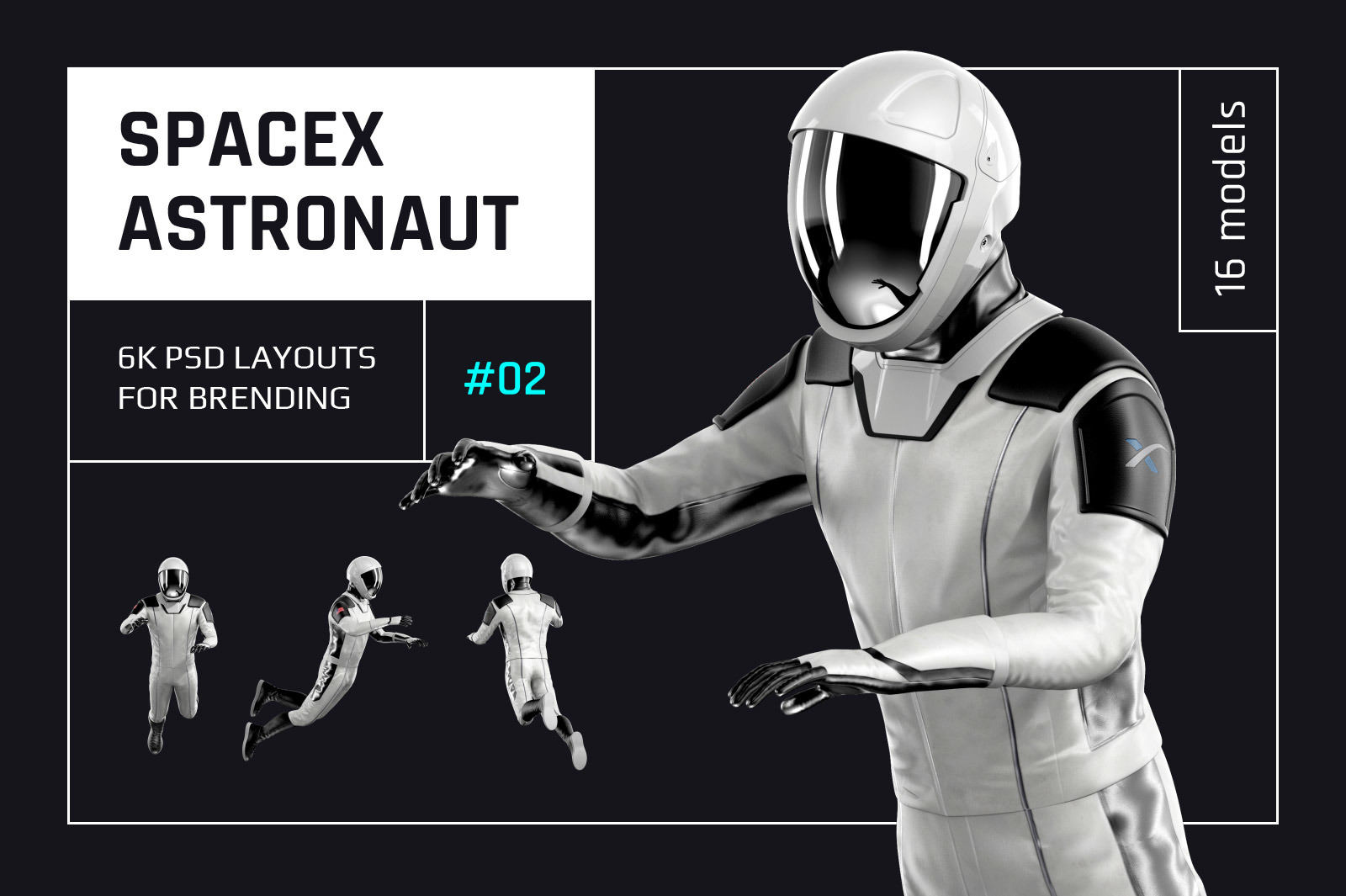 PSD Mockup 3D model SpaceX Astronaut #02