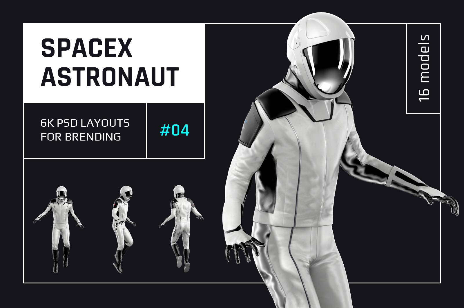 PSD Mockup 3D model SpaceX Astronaut #04