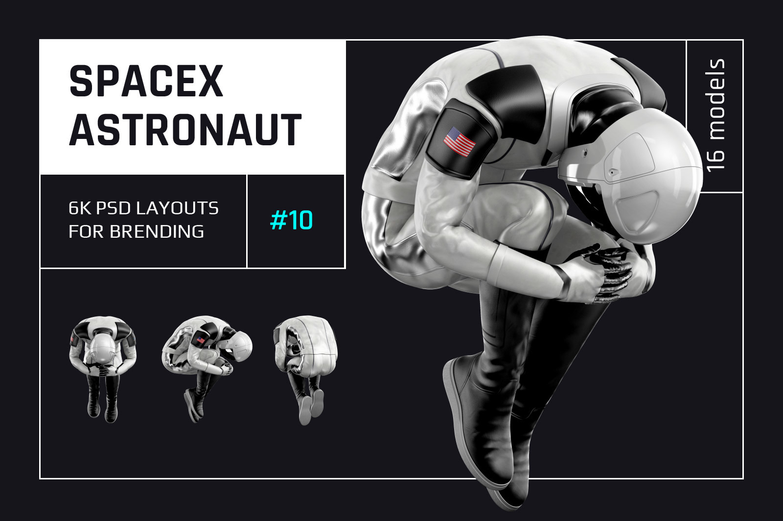 PSD Mockup 3D model SpaceX Astronaut #10
