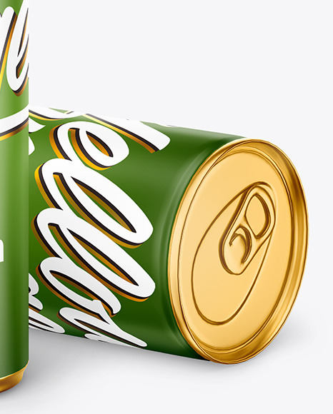 Two Metallic Drink Cans w/ Matte Finish Mockup