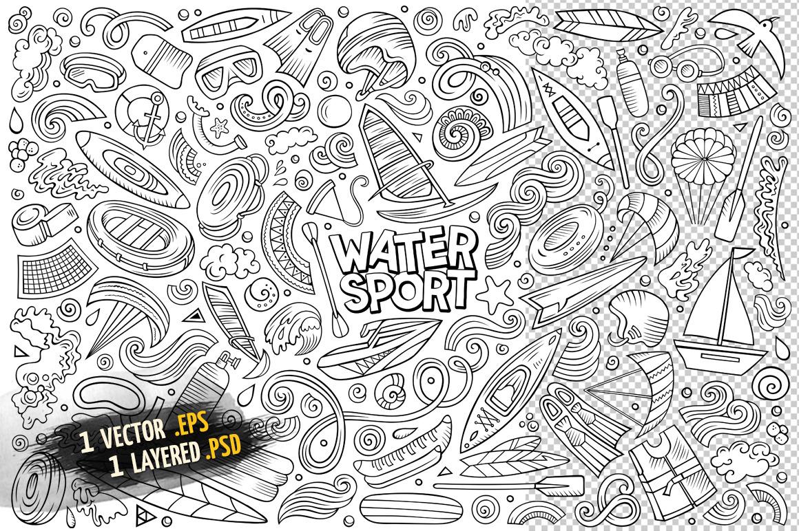 Water Sports Objects & Symbols Set