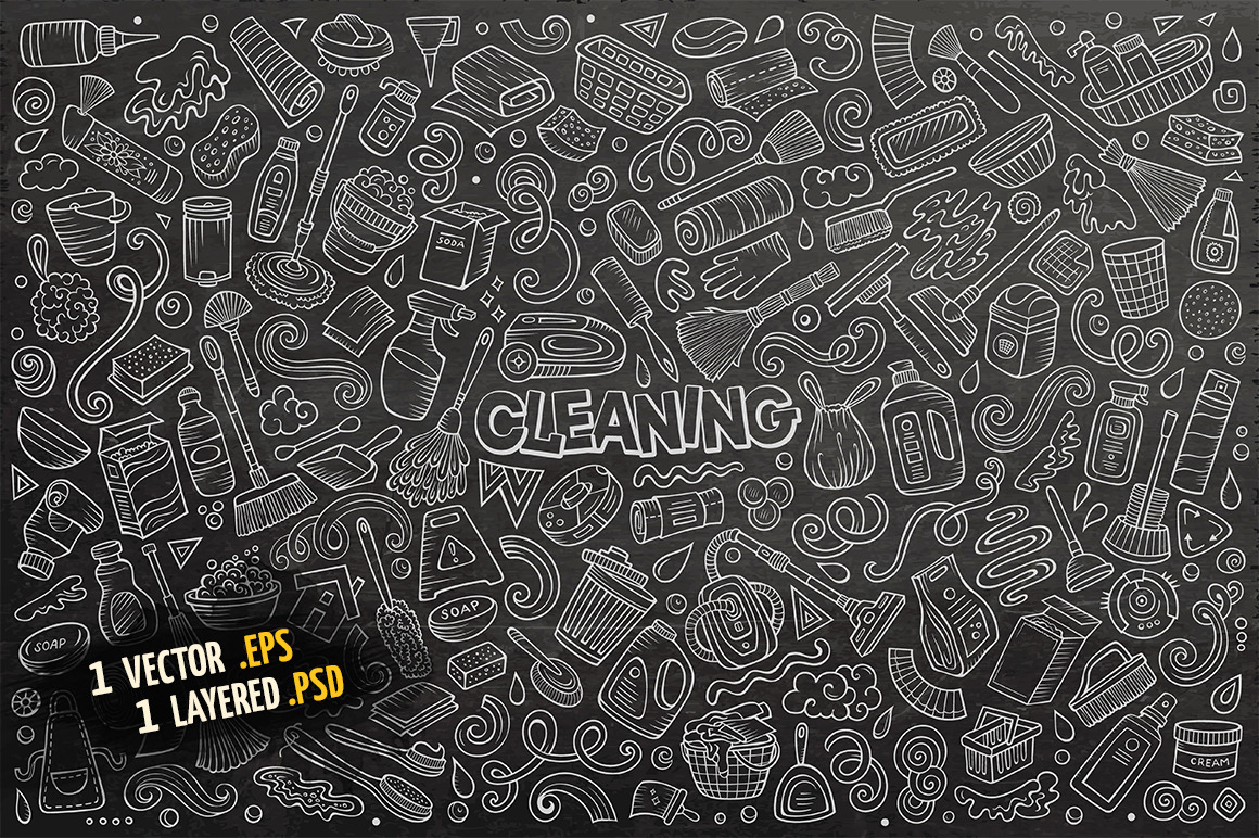 Cleaning Objects & Symbols Set