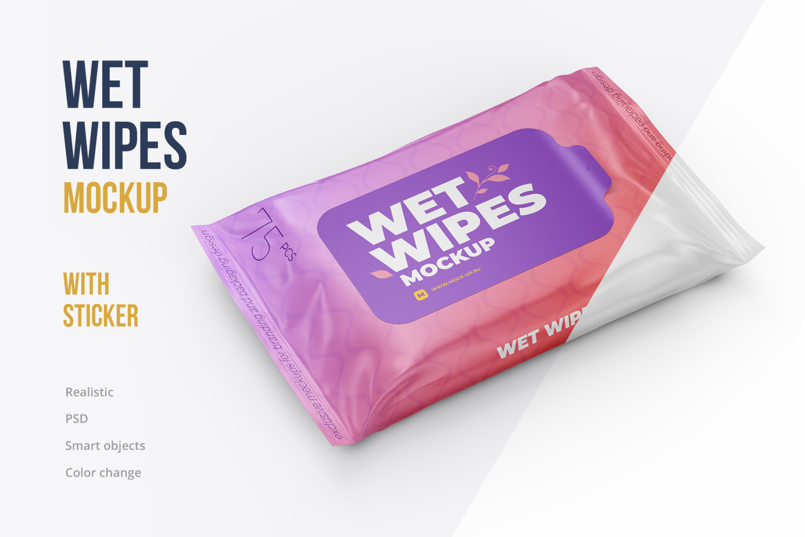 Wet Wipes with Sticker Mockup - Angle view