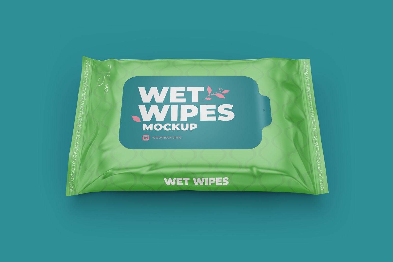 Wet Wipes with Sticker Mockup. Half Side view
