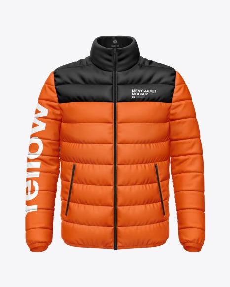 Matte Nylon Men's Down Jacket Mockup