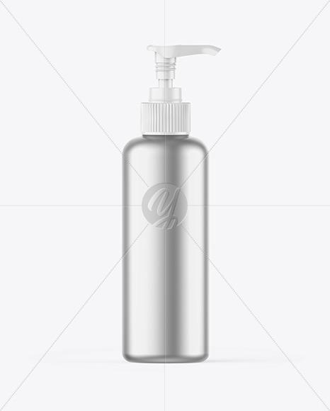 Matte Metallic Bottle w/ Open Pump Mockup