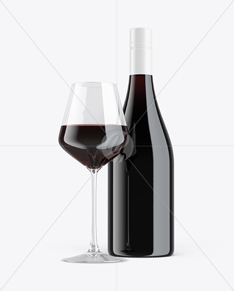 Green Glass Red Wine Bottle With Glass Mockup