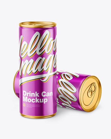 Glossy Metallic Drink Cans Mockup