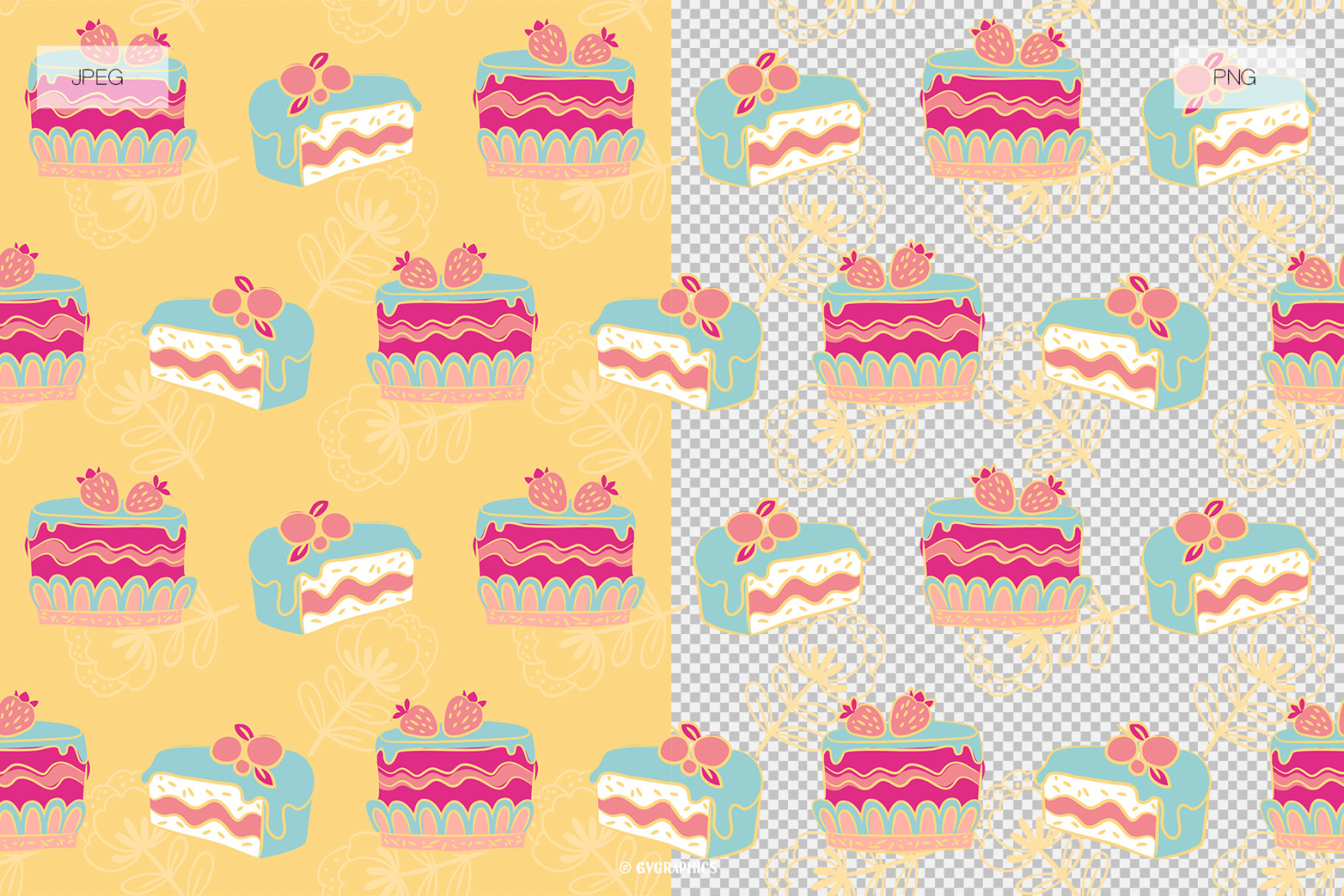 Birthday Cake Vector Patterns and Seamless Tiles