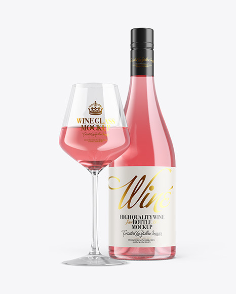 Clear Pink Wine Bottle With Glass Mockup
