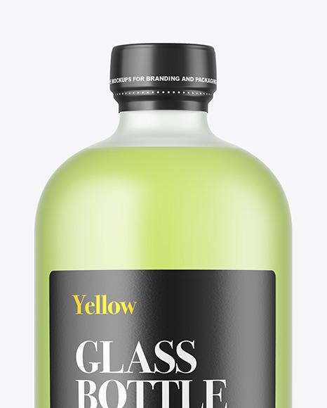 Color Liquid Frosted Glass Bottle Mockup