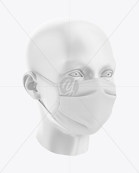 Face Mack Mockup - Front Half-Side View