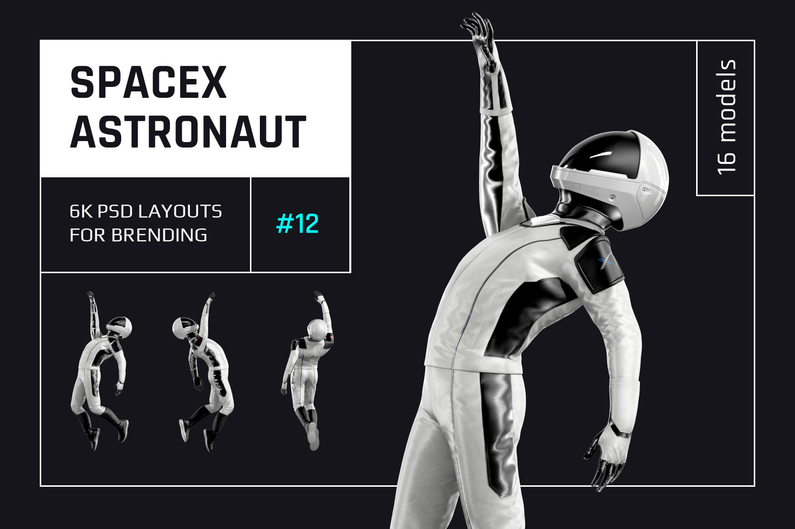 PSD Mockup 3D model SpaceX Astronaut #12