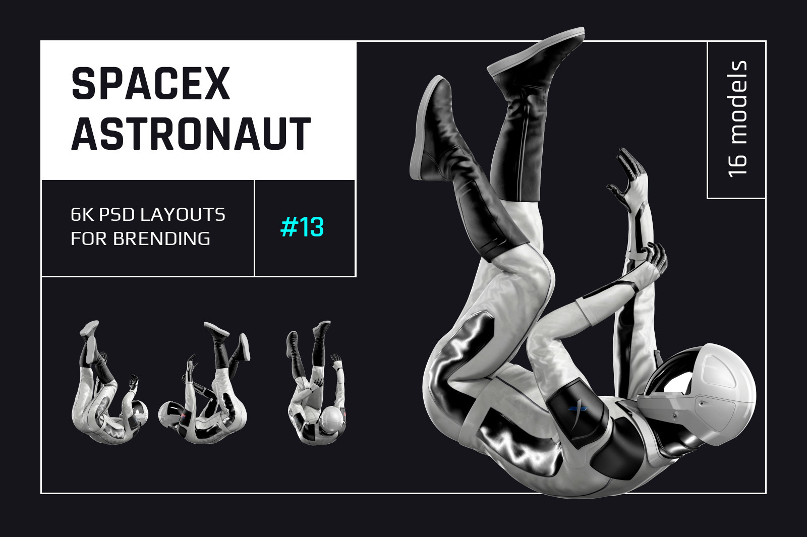 PSD Mockup 3D model SpaceX Astronaut #13