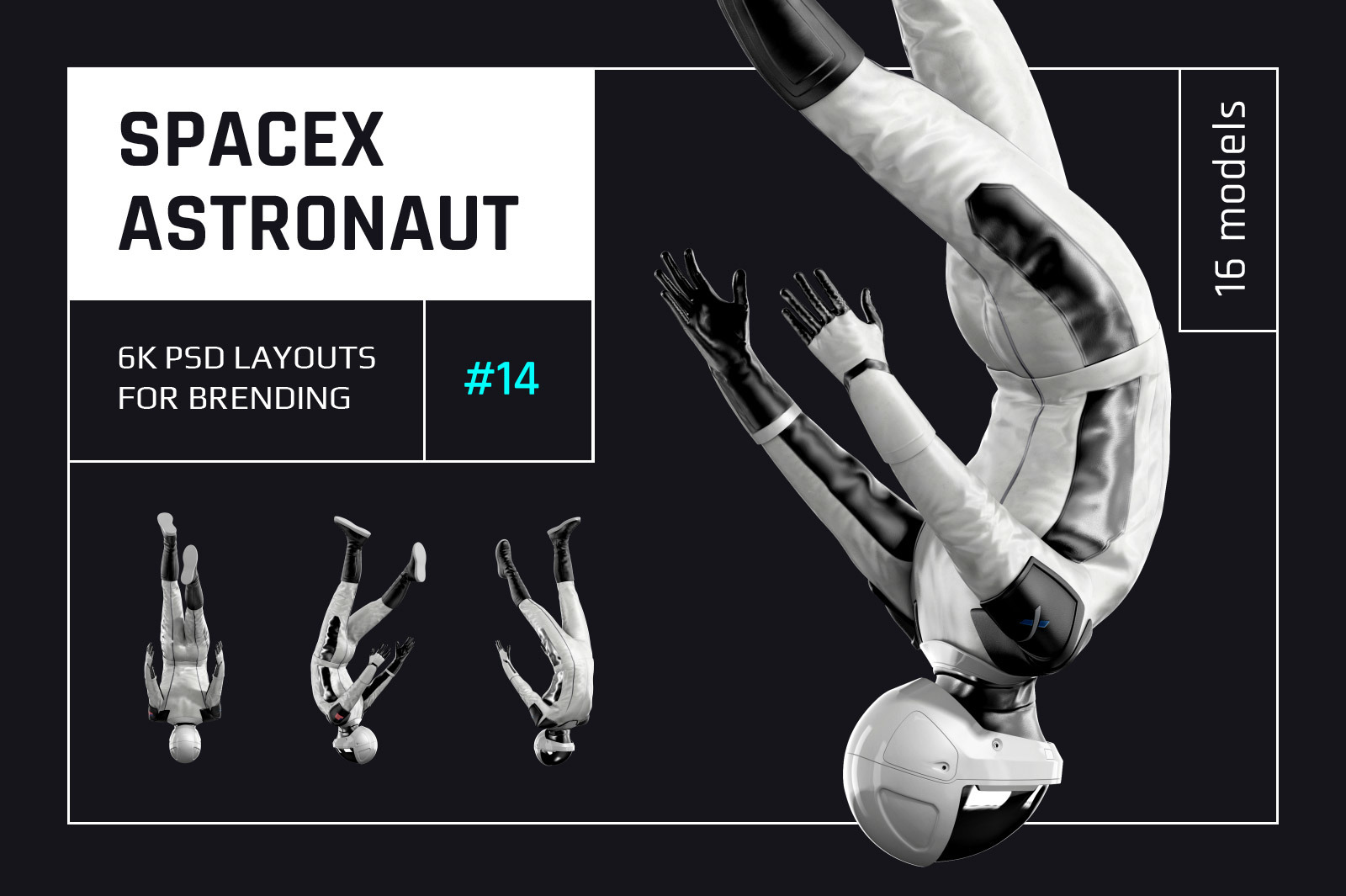 PSD Mockup 3D model SpaceX Astronaut #14