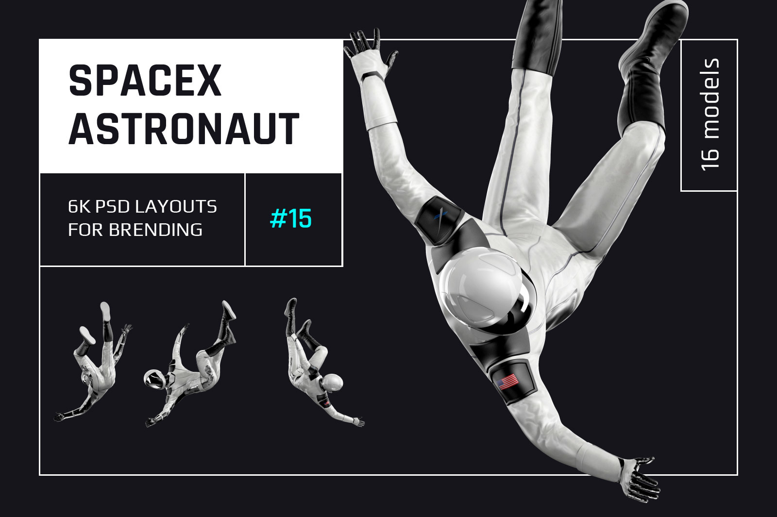 PSD Mockup 3D model SpaceX Astronaut #15