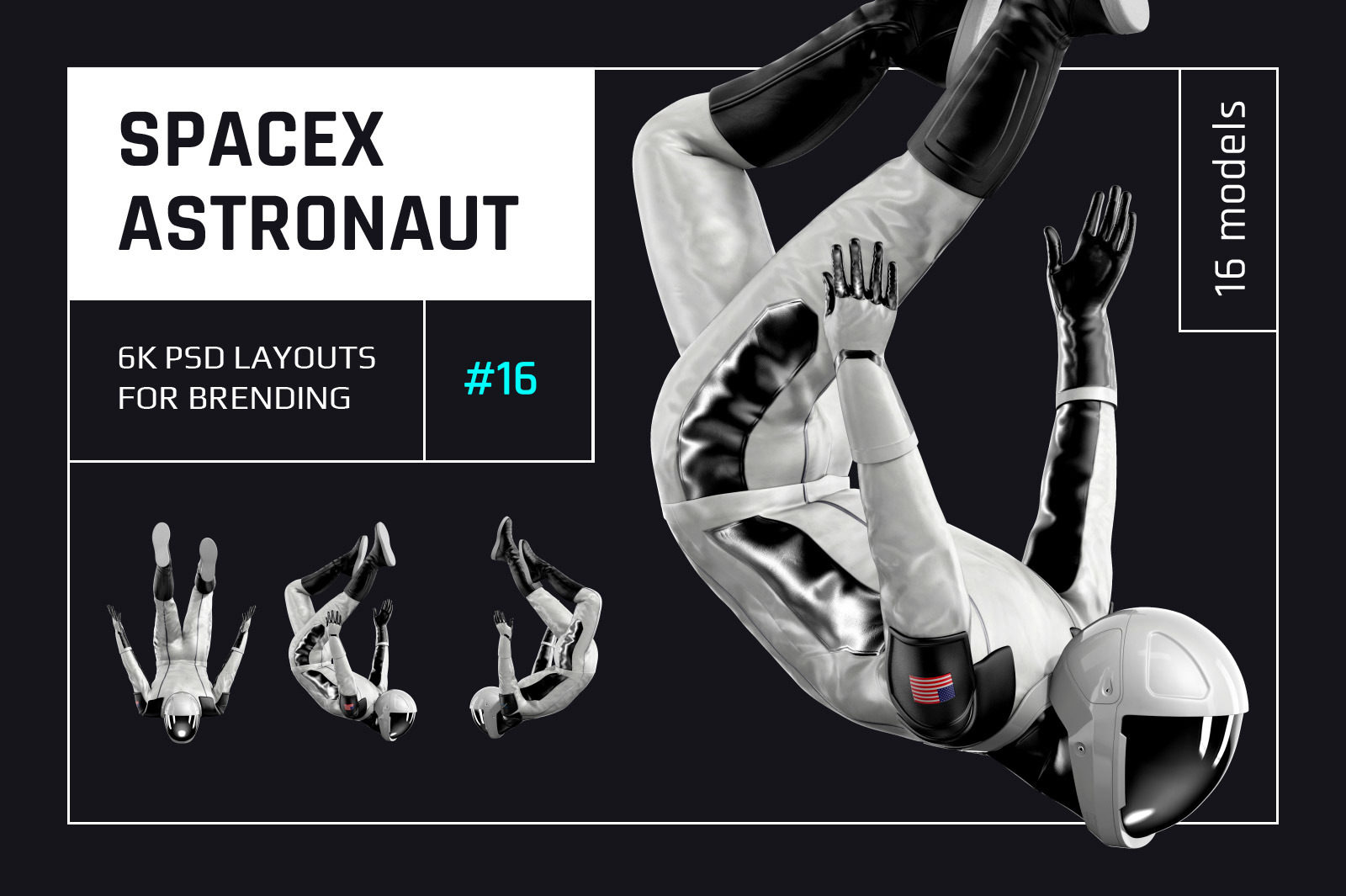 PSD Mockup 3D model SpaceX Astronaut #16