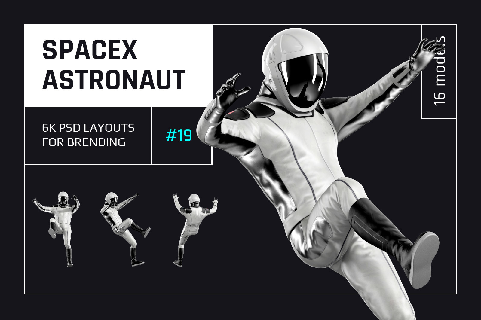 PSD Mockup 3D model SpaceX Astronaut #19