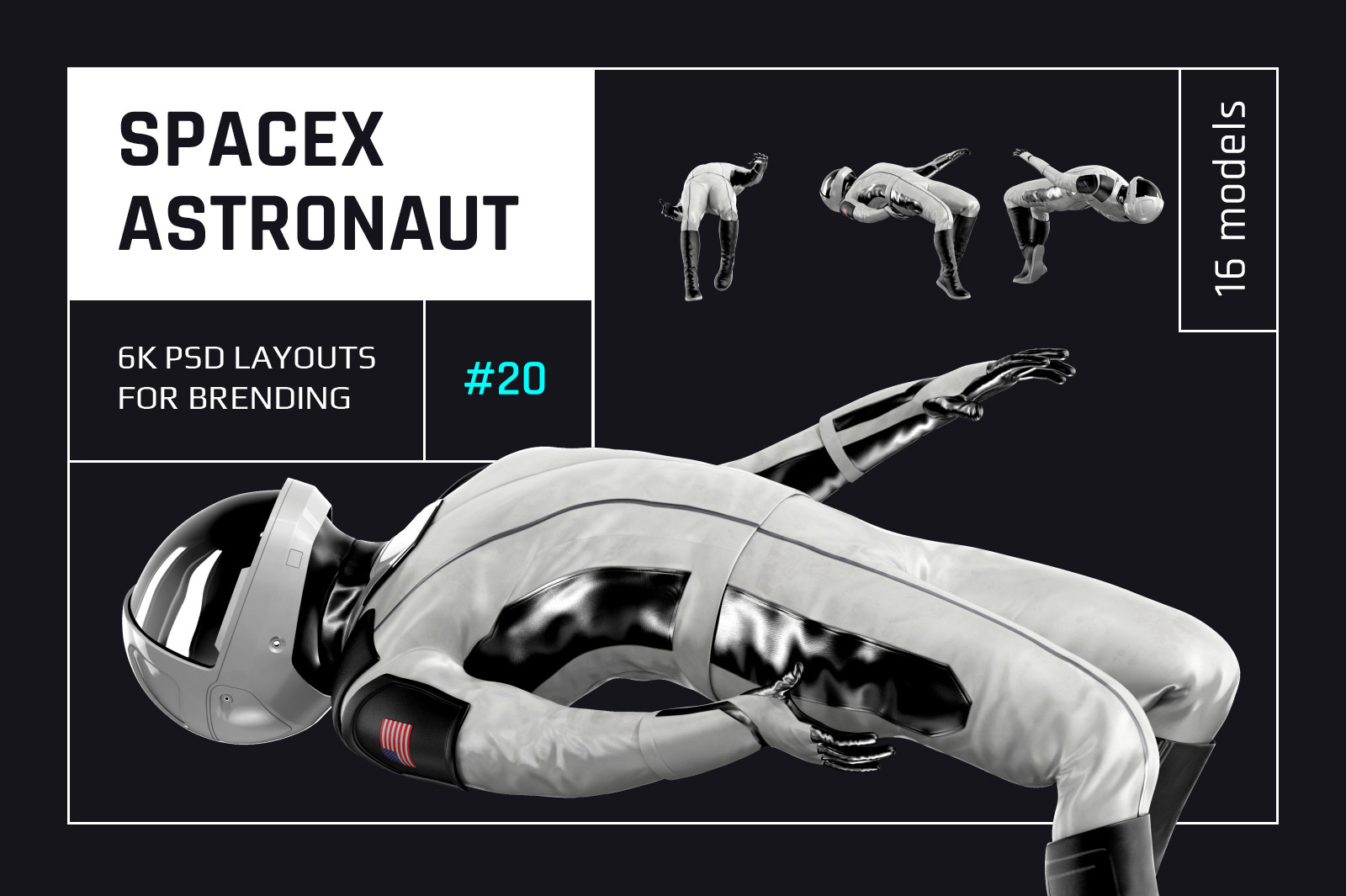 PSD Mockup 3D model SpaceX Astronaut #20