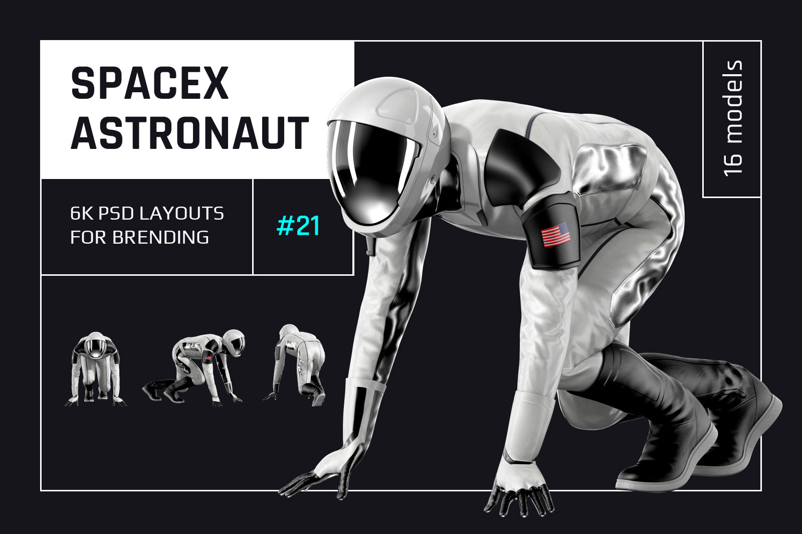 PSD Mockup 3D model SpaceX Astronaut #21